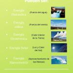 En este trabajo hemos realizado un infografía sobre algunas de las energías renovables más importantes en nuestro planeta y definiendo de donde provienen y algunas ventajas e inconvenientes de ellas. Queremos concienciar a las personas del uso de las energías renovables antes los combustibles fósiles pues estos son muy contaminantes para el medio ambiente y sobre todo para nuestro planeta.